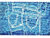 Craie de dessin sur un bleu de tissu de denim Images libres de droits