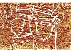Craie de dessin sur un brun de tissu de denim Photographie stock libre de droits