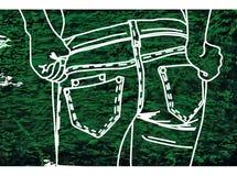 Craie de dessin sur un vert de tissu de denim Photos libres de droits