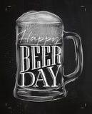 Craie de jour de bière d'affiche illustration stock