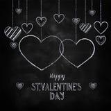 Craie tirée par la main marquant avec des lettres le jour heureux du ` s de Valentine Photos stock