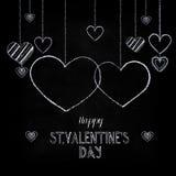 Craie tirée par la main marquant avec des lettres le jour heureux du ` s de Valentine Photo stock