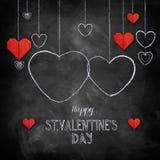 Craie tirée par la main marquant avec des lettres le jour heureux du ` s de Valentine Photo libre de droits