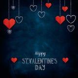 Craie tirée par la main marquant avec des lettres le jour heureux du ` s de Valentine Images libres de droits