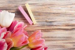 Craies roses et jaunes avec des tulipes Image libre de droits