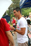 Craig Alexander at Aviva Ironman 70.3 Singapore. Pre race bike check-in stock image