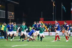 Craig Casey no sob 20 seis nações combina entre a Irlanda e o França no parque do Irish Independent fotografia de stock