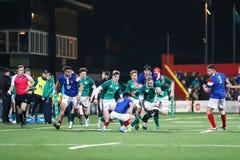 Craig Casey no sob 20 seis nações combina entre a Irlanda e o França no parque do Irish Independent fotos de stock royalty free