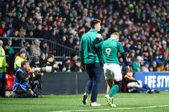 Craig Casey no sob 20 seis nações combina entre a Irlanda e o França no parque do Irish Independent imagem de stock