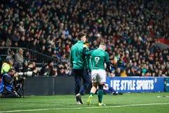Craig Casey no sob 20 seis nações combina entre a Irlanda e o França no parque do Irish Independent imagens de stock royalty free