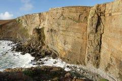 Craig Dorys. The large shale cliffs of Craig Dorys on Cilan Head near Abersoch, Lleyn Peninsular, North Wales, UK. A popular venue for rock climbers, geologists Stock Photos