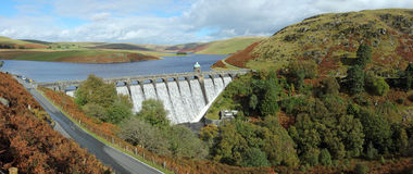 Craig Goch reservoir panorama, Elan Valley, Wales. Royalty Free Stock Photo