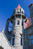 Craigdarroch Castle Victoria Canada. Detail of the main stone tower with its red brick roof at the Craigdarroch Castle Royalty Free Stock Images