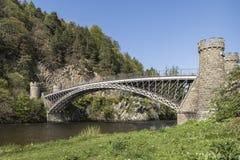 Craigellachie Bridge over the River Spey in Scotland. Stock Photography