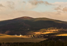 Craigellachie and Dewars Distillery. This is the view of the village of Craigellachie, Speyside, Moray, Scotland, United Kingdom on a winters afternoon stock photography