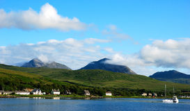 Craighouse island of Jura. Craighouse, island of jura with the paps of jura in background scottish inner hebrides stock photos