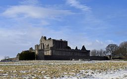 Craigmillar castle a14th century and was used as a film set for Outlander and The Outlaw King. Craigmillar castle was built in the 14th century and Mary Queen of Royalty Free Stock Photos