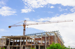 Crain budowy budynek Obrazy Stock