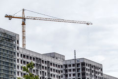 Crains on construction site of building. Construction background Stock Images