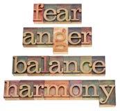 Crainte, colère, équilibre, harmonie Photos stock