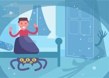 Crainte du cauchemar des enfants des monstres sous le vecteur de gar?on de lit cartoon Art d'isolement illustration stock