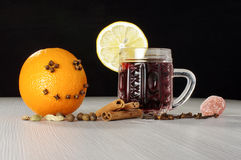 Craizy orange smile and red hot winter wine gluhwein Royalty Free Stock Photography