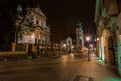 Crakow city in night. Royalty Free Stock Image