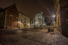 Crakow city in night. Royalty Free Stock Photos