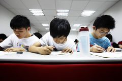 Cram school. Students of the junior high school studied for the exam on May 8, 2011 in Taiwan Stock Images