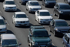 Crammed motorways. Vehicles among the outgoing traffic caught in the afternoon rushhour on a motorway Stock Image