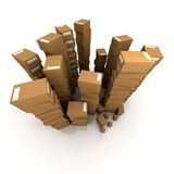 Crammed stock room. Extremely high  piles of cardboard boxes in equilibrium Royalty Free Stock Photo