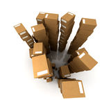 Crammed warehouse. Extremely high  piles of cardboard boxes in equilibrium Stock Photos
