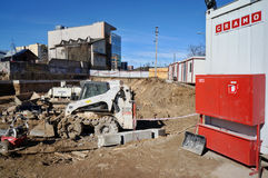 Cramo rented machines on building Royalty Free Stock Image
