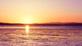 Cramond beach, Edinburgh, at sunset time Stock Photography