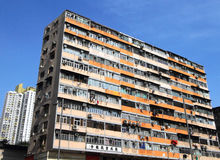 Cramped apartments in Shamshuipo. Of Hong Kong stock photo