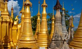 In the cramped Buddhist stupas. Indein pagoda, which houses over 200 stupa, is one of the main attractions on Inle lake in Myanmar royalty free stock photography