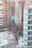 Cramped courtyard in high-rise residential neighborhood. Shooting from above in winter royalty free stock photo