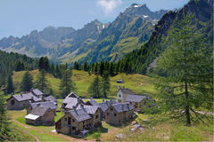 Crampiolo Alpe Devero. The Alpe Devero belongs to a natural park situated in Lepontine Alps is the northern Ossola Valley Stock Photos