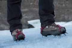 Crampons. Mountanineering with crampons at perito moreno glacier stock image
