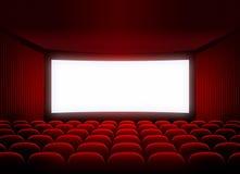 Écran de cinéma dans l'assistance rouge Image stock