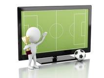 écran de 3d TV avec le terrain de football et la boule Photos libres de droits