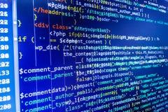 Écran de programmation de code source de codage Images stock