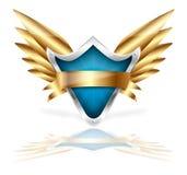 Écran protecteur et vecteur d'or d'ailes Images libres de droits