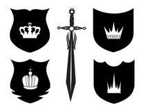 Écran protecteur, épée et tête Photos libres de droits