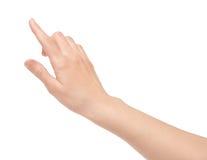 Écran virtuel de contact de doigt d'isolement Photo stock
