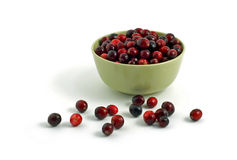 Cranberries. Fresh cranberries in pale green bowl isolated on white background Stock Images