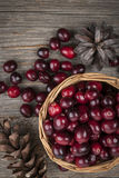 Cranberries in basket Stock Photo