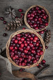Cranberries in baskets Royalty Free Stock Photo