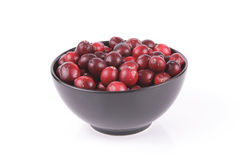 Cranberries in a Black Bowl Royalty Free Stock Image