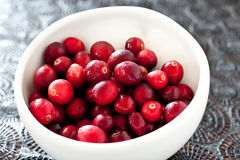 Cranberries in bowl Stock Photography